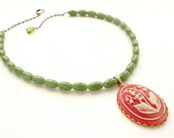 Vintage Coral Cameo Necklace lily of the valley cameo, coral peach and celery green - Tangerine cameo necklace