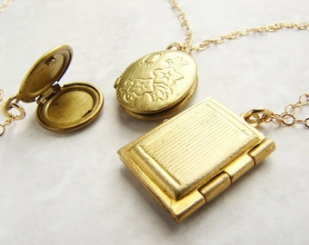 Trio locket statement necklace, vintage locket gold necklace, bridal jewelry, wedding jewelry