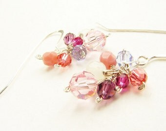 Pink ombre clustered earrings, bridesmaid jewelry, pink purple crystal dangle, custom colors, bridal jewelry set