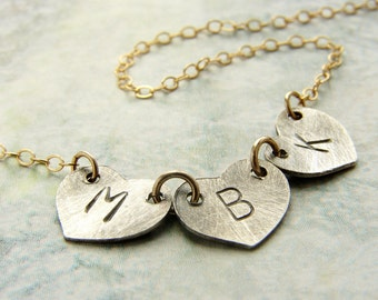 Heart Initial Necklace, Personalized Mothers day gift, two tone, kids Initial, birthday gift, monogram, mom gift, monogrammed gift