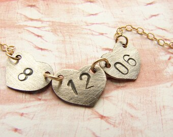 Date necklace, personalized anniversary jewelry, number necklace, engraved wedding date, anniversary date necklace gift for girlfriend