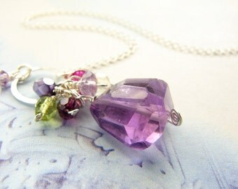 Gemstone jewelry, purple cluster necklace, Amethyst February birthday, bridesmaid jewelry, bridal party purple gemstone necklace