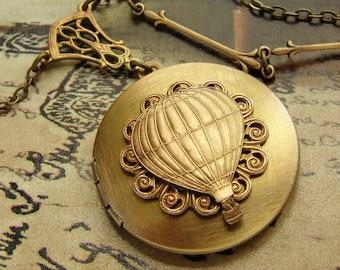 Hot air balloon locket Necklace - steampunk edwardian vintage locket necklace, long locket necklace, traveler adventurous
