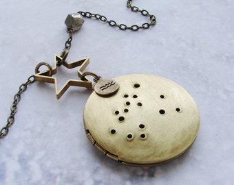 Personalized Constellation Necklace, custom zodiac locket pendant Aquarius necklace February birthday, personalized zodiac