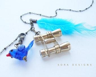 Binocular Birding Necklace - blue bird bright tropical bird, mini binocular long necklace, birder birdwatching gifts
