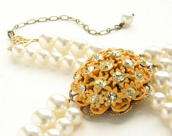 Peach flower statement necklace, beadwork, bridal necklace, vintage enamel flower brooch double strands pearl necklace