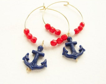 Anchor hoops earrings, Nautical red white blue color block hoop earrings, vintage navy blue anchor