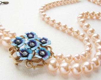 Statement necklace, Bridal necklace Wedding jewelry Vintage blue purple flower peach pearls statement necklace