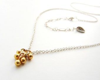 tiny gold beads necklace, bridesmaid jewelry, everyday gold cluster necklace sterling silver delicate dainty, gold dust cascade
