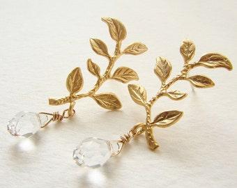 Gold sprig studs, Bridal post earrings, Wedding jewelry laurel branch leaf drop earrings, bridal earrings gift for her