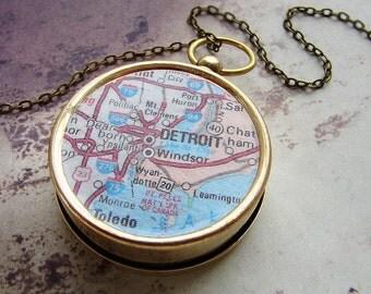 Personalized map compass necklace, Detroit Michigan Map, custom map compass, personalized gift dude men him