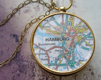 Compass Map Necklace - Hamburg Germany custom map choose your city map - personalized graduation gifts anniversary for him her