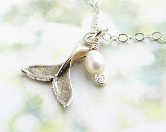 Tiny whale tail necklace, charm, whale tail freshwater pearl charm, animal charm necklace, whale tail charm