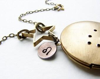 Leo Constellation necklace, Personalized Zodiac Locket Necklace, custom constellation Leo locket July August birthday custom zodiac necklace