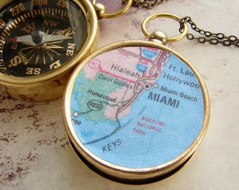 Personalized keychain, Custom Map Compass, Miami Map pocket chain keychain college send off personalized gift