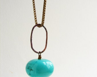Chunky turquoise sphere pendant long necklace, hand hammered oval link with vintage box chain mod necklace