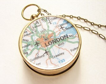Personalized Map Necklace London map Compass Necklace, London England, Custom Choose Your City Compass Map personalized graduation gifts