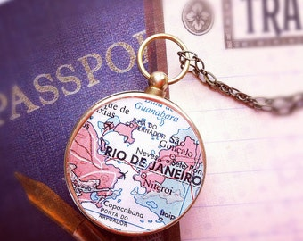 Personalized mens necklace, Map Compass Necklace, custom choose your city, Rio De Janeiro, Custom pocket keychain anniversary gift