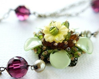 Flower Statement Necklace, purple grape ochre flower crystals pearls Flapper style long necklace