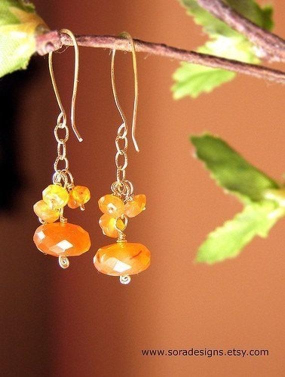 Tangerine drop earrings, gemstone drop earrings, clustered Carnelian gemstone dangle earrings, 14k gold filled clustered drop earrings
