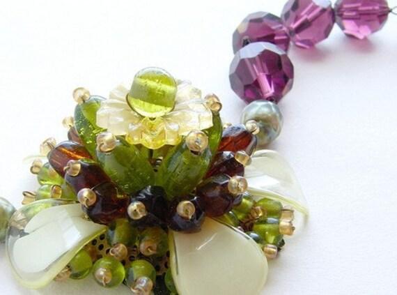 Statement necklace, plum flower statement necklace, beaded glass flower statement necklace, olivine aubergine flower
