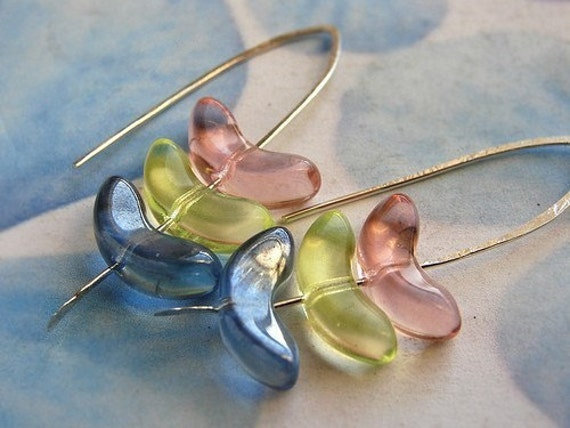 Honey Pie Drop Earrings, glass stacked drop earrings, pink, lemon yellow, baby blue hand forged sterling silver earrings