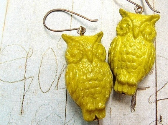 Mustard Owl Earrings - oxidized sterling silver vintage Lucite owl earrings