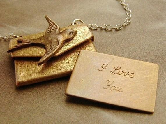 I Love You Locket Necklace, envelope locket necklace, i love you message bird locket, envelope necklace, envelope pendant