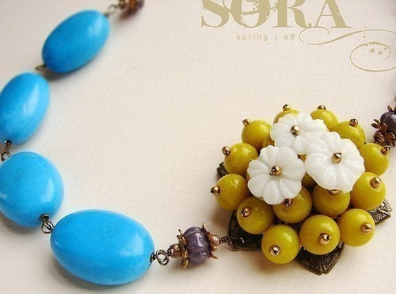 Statement necklace, Yellow Flower Blue Statement necklace, beaded lemon flower statement jewelry blue chunky turquoise statement necklace