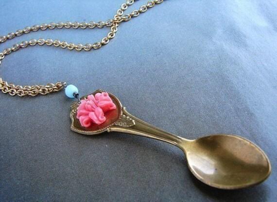 Miniature spoon pendant necklace, coral rose blue glass little spoon necklace, spoon pendant long necklace