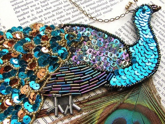 Peacock statement necklace, sequined peacock necklace, long statement necklace, teal blue peacock statement necklace