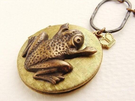 Frog Locket Necklace, Prince frog vintage locket crown charm, locket long necklace vintage photo locket necklace
