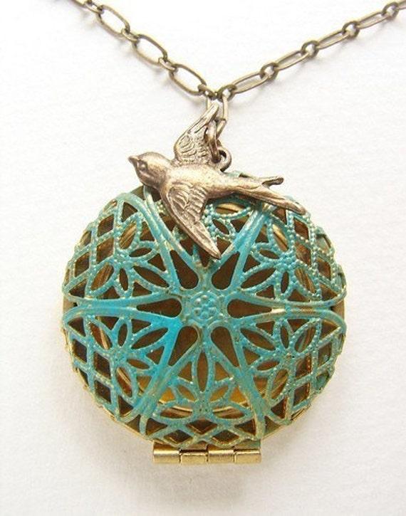 Blue filigree locket pendant necklace, pendant necklace, Turquoise filigree bird locket, bird nest locket necklace, bird locket necklace