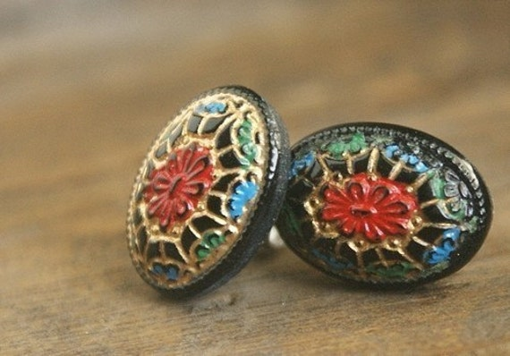 Vintage mosaic studs, glass post earrings in crimson, gold, blue, black vintage post earrings