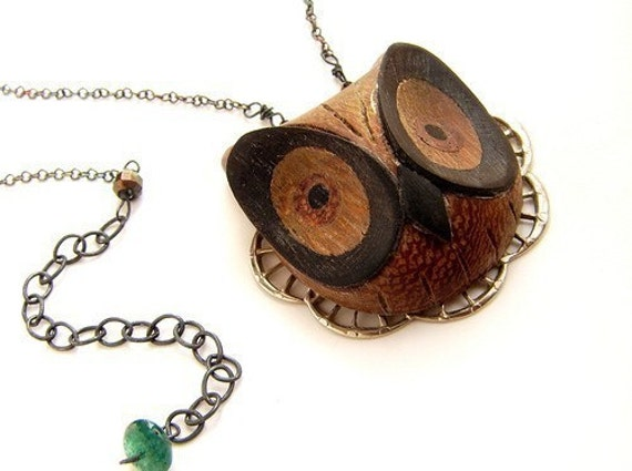 Wooden Owl Necklace, animal necklace, hand carved woodwork owl pendant necklace, owl necklace