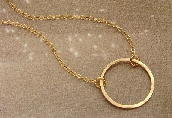 Bridesmaid jewelry, Gold Circle Necklace, bridesmaid necklace, dainty gold circle everyday necklace, hammered gold circle necklace