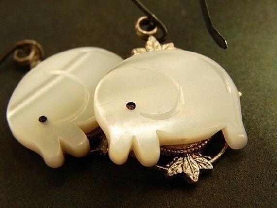 White Elephant Drop Earrings, drop earrings white elephant oxidized stelring silver earrings, animal jewelry