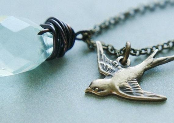Aquamarine drop bird necklace, aqua quartz teardrop flying swallowtail necklace, March birthday aquamarine