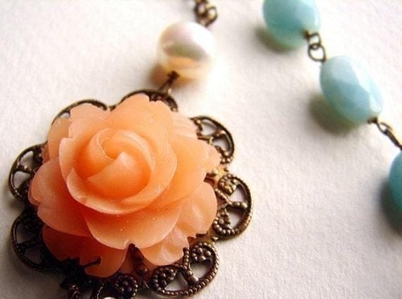 Peach Rose Aqua Mint necklace, Bridesmaid Jewelry, Wedding Necklace, Bridal Necklace, wedding party jewelry