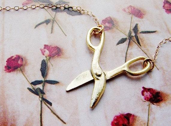 Tiny scissor necklace - miniature movable scissor gold necklace, 14kt gold filled chain