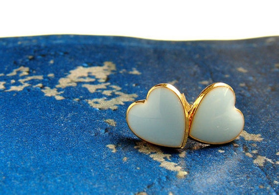 Dreaming of Blue- vintage enamel heart earrings posts, Limited Edition
