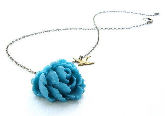 Bridesmaid jewelry, Aqua teal rose necklace, Wedding jewelry, teal blue swallow bird necklace, bridal wedding party jewelry
