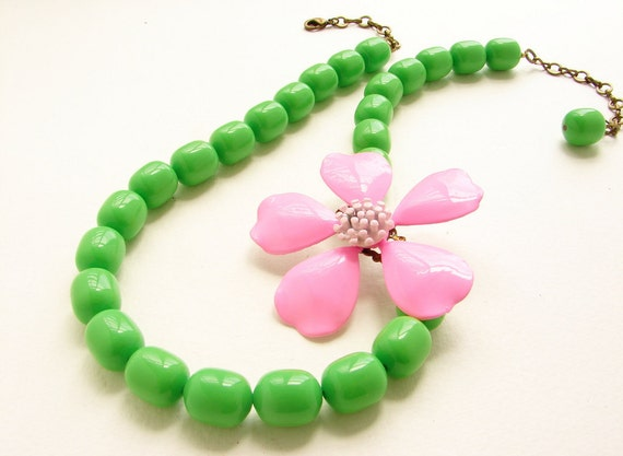 Statement necklace, Pink flower brooch necklace bright neon pink lime azalea bold statement OOAK jewelry