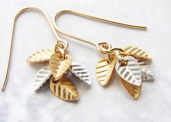 Gold Leaf Drop earrings, drop earrings, bridal earrings, gold silver leaf dangle earrings, delicate dainty everyday earrings