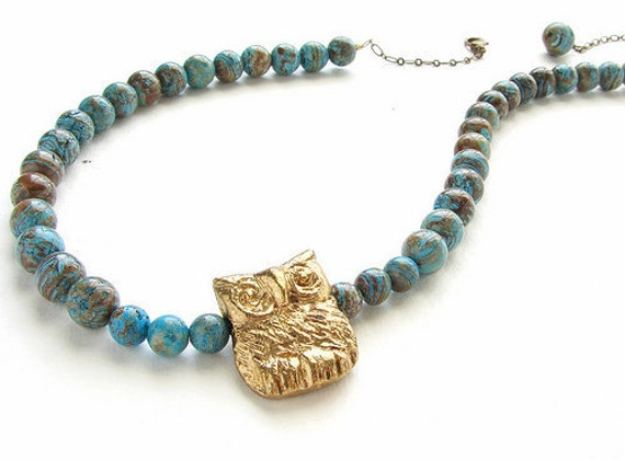 Rustic Owl necklace, earthy brown and turquoise blue jasper stones necklace, metal rustic owl necklace