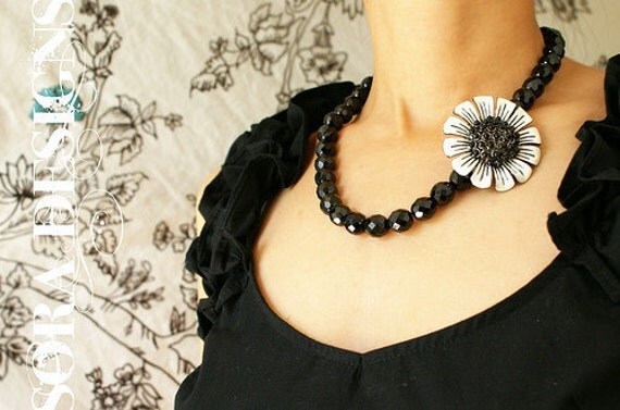 beaded Statement necklace, beadwork, vintage black white enamel flower brooch, heirloom keepsake jewelry, statement necklace gift for her
