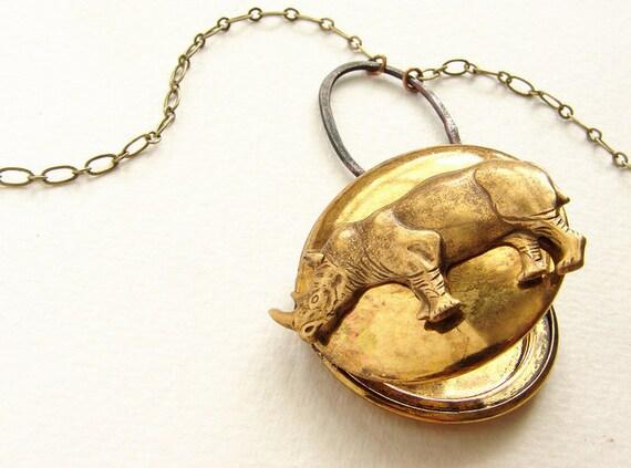 Rhinoceros Locket Necklace - vintage locket necklace, brass jewelry, rhino locket, animal jewelry