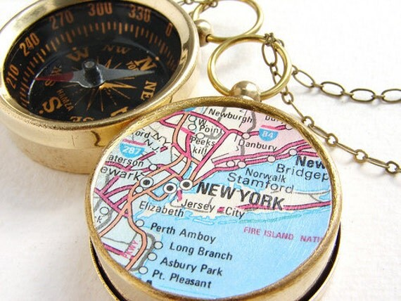Personalized jewelry, Map Compass Necklace, Personalized gift New York City Map Necklace, personalized graduation anniversary gift