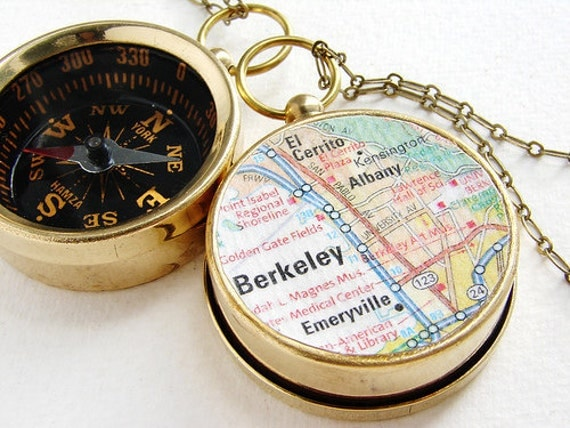 Personalized teen gift, Map Compass Necklace, Berkeley Map, custom choose your city, personalized graduation gift