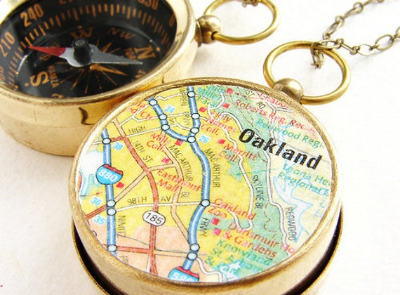 College Map Compass keychain, personalized keychain, custom university map, Oakland personalized College map send off graduation gift